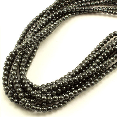 3mm Czech Pearl Charcoal 150 pcs - Beads Gone Wild