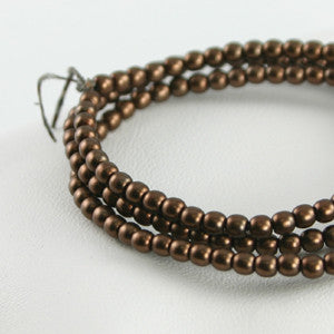2mm Czech Pearl Brown Satin 150 pcs - Beads Gone Wild