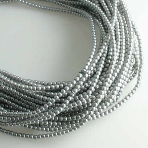 2mm Czech Pearl Cool Grey Satin 150 pcs - Beads Gone Wild