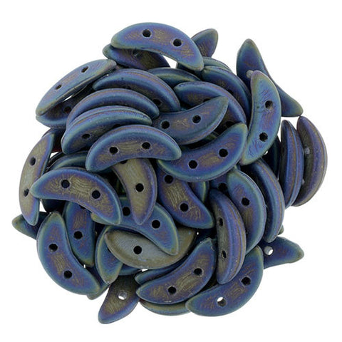 Mat Iris Blue Crescent Bead - Beads Gone Wild