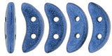 Metallic Suede Blue Crescent Bead - Beads Gone Wild  - 2