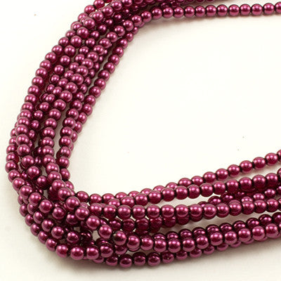 3mm Czech Pearl Dark Magenta 150 pcs - Beads Gone Wild