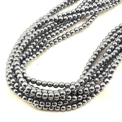 3mm Czech Pearl Grey 150 pcs - Beads Gone Wild