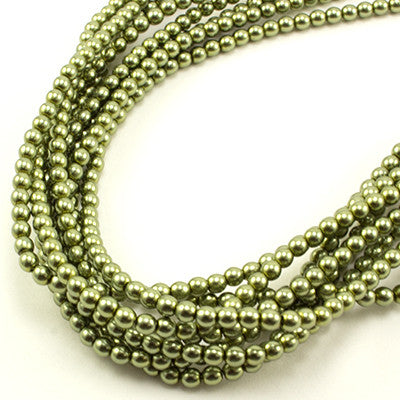 3mm Czech Pearl Lt Green 150 pcs - Beads Gone Wild
