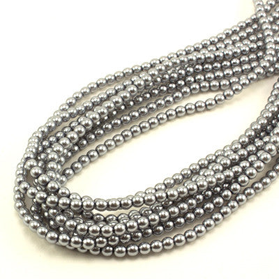 3mm Czech Pearl Lt Grey 150 pcs - Beads Gone Wild
