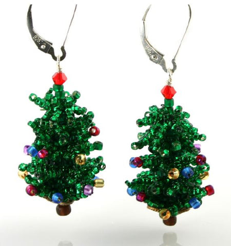 Christmas Tree Earring Bead Weaving Kit - Beads Gone Wild  - 1