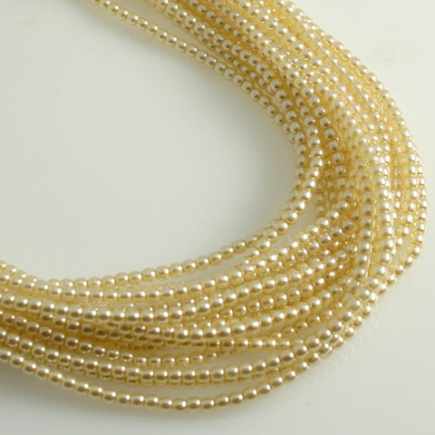 2mm Czech Pearl Cornsilk 150 pcs - Beads Gone Wild