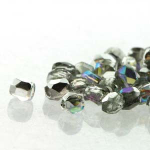 2mm Fire Polish Crystal Silver Rainbow 150 beads - Beads Gone Wild
