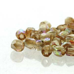 2mm Fire Polish Crystal Brown Rainbow 150 beads - Beads Gone Wild