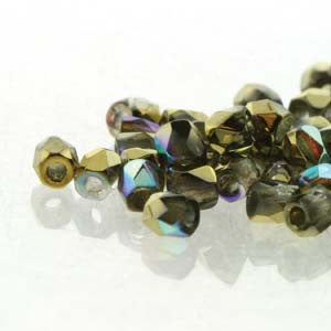 2mm Fire Polish Crystal Gold Rainbow 150 beads - Beads Gone Wild