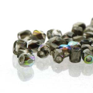 2mm Fire Polish Crystal Graphite Rainbow 150 beads - Beads Gone Wild