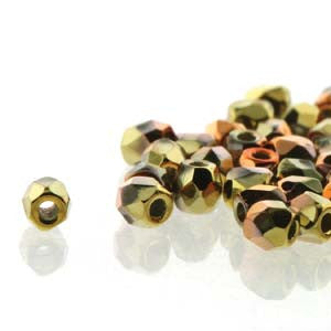 2mm Fire Polish Crystal California Gold Rush 150 beads - Beads Gone Wild
