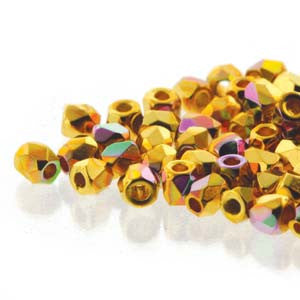 2mm Fire Polish Crystal Gold Plt AB 150 beads - Beads Gone Wild