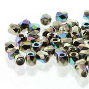 2mm Fire Polish Crystal Nickel Plt AB 150 beads - Beads Gone Wild