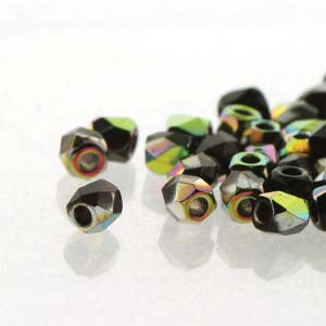 2mm Fire Polish Jet Vitrail 150 beads - Beads Gone Wild