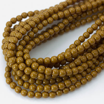 4mm Czech Pearl Khaki 120 pcs - Beads Gone Wild