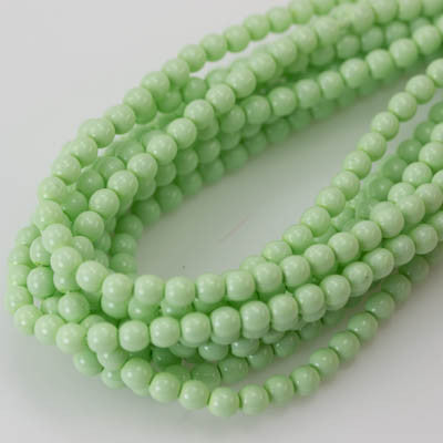 4mm Czech Pearl Lt. Spring Green 120 pcs - Beads Gone Wild
