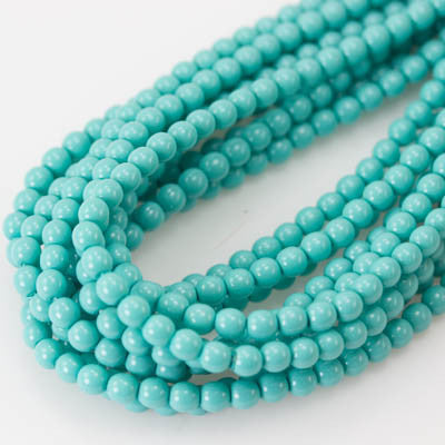 4mm Czech Pearl Turquoise Blue 120 pcs - Beads Gone Wild