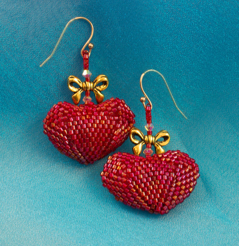 Red Heart Earrings Bead Weaving Kit - Beads Gone Wild