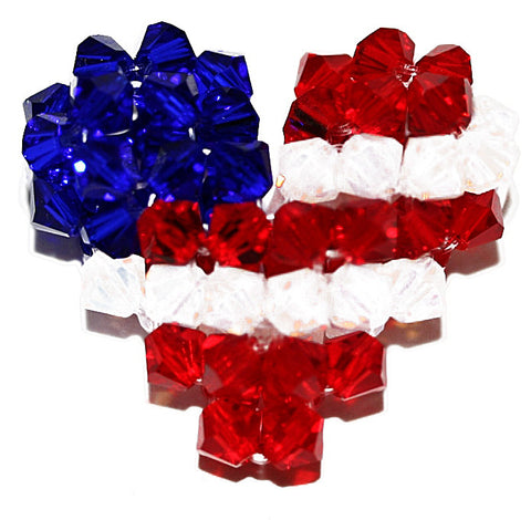 Patriotic Puffy Heart Pendant Bead Weaving Kit - Beads Gone Wild
