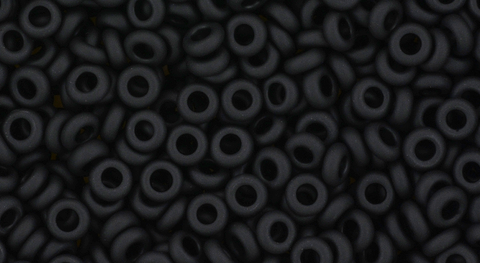 8/o Opaque Frosted Jet Demi Round Bead - Beads Gone Wild