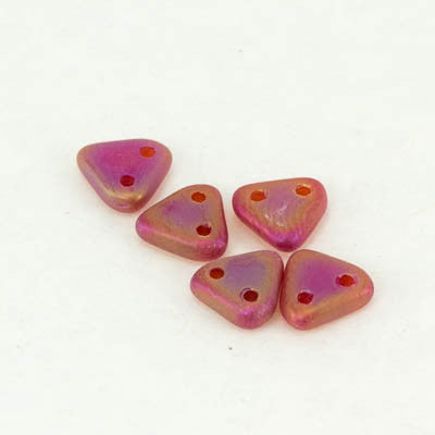 Matte Iris Siam Ruby Triangles 6mm 2 hole (10g tube) - Beads Gone Wild