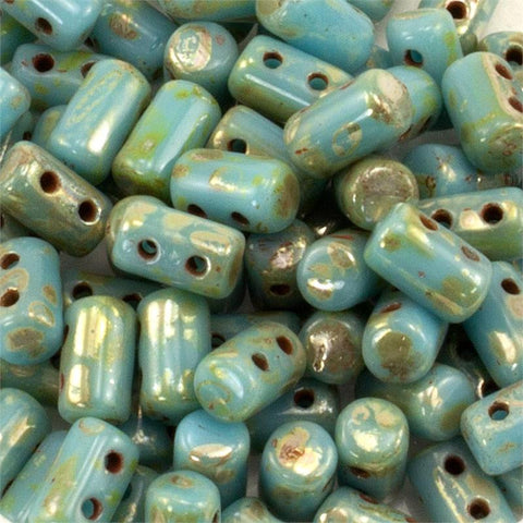 "Turquoise Blue Picasso Rulla 3x5 3"" Tube - Beads Gone Wild"