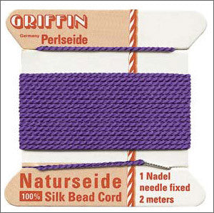 Griffin Silk Cord with needle Size 2 Amethyst - Beads Gone Wild