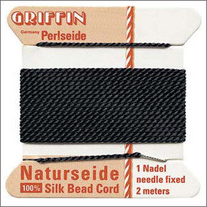 Griffin Silk Cord with needle Size 2 Black - Beads Gone Wild