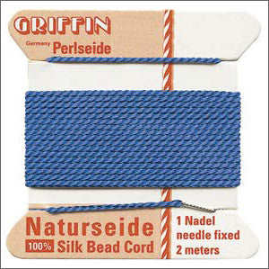 Griffin Silk Cord with needle Size 12 Blue - Beads Gone Wild