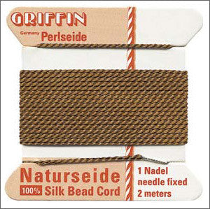 Griffin Silk Cord with needle Size 12 Brown - Beads Gone Wild