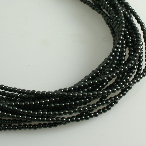 2mm Czech Pearl Charcoal 150 pcs - Beads Gone Wild