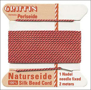 Griffin Silk Cord with needle Size 10 Coral - Beads Gone Wild