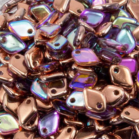Dragon Scale Crystal Copper Rainbow 1.5 x 5mm 8 grams - Beads Gone Wild