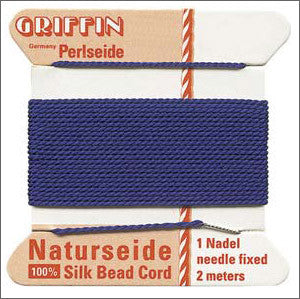 Griffin Silk Cord with needle Size 12 Dark Blue - Beads Gone Wild