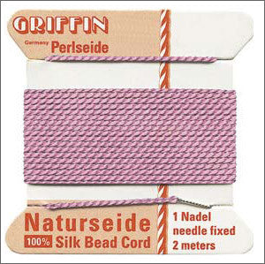 Griffin Silk Cord with needle Size 10 Dark Pink - Beads Gone Wild