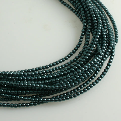 2mm Czech Pearl Dk Cyan 150 pcs - Beads Gone Wild