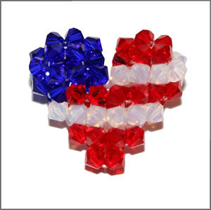 Patriotic Crystal Puffy Heart Instructions - Beads Gone Wild