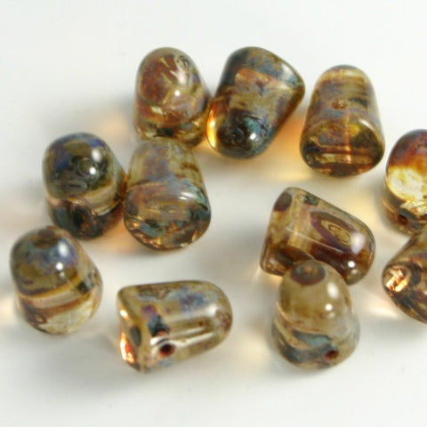 Gumdrops Crystal Dark Travertin 7x10mm 12/pkg - Beads Gone Wild