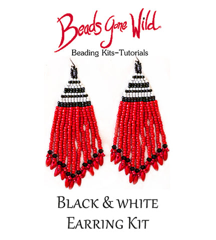 Black & White Brick Stitch Earrings Kit
