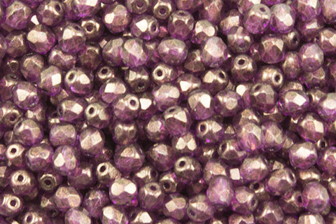 4mm Golden Touch Fire Polish Magenta Approx.80 beads - Beads Gone Wild