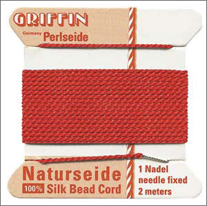 Griffin Silk Cord with needle Size 12 Red - Beads Gone Wild