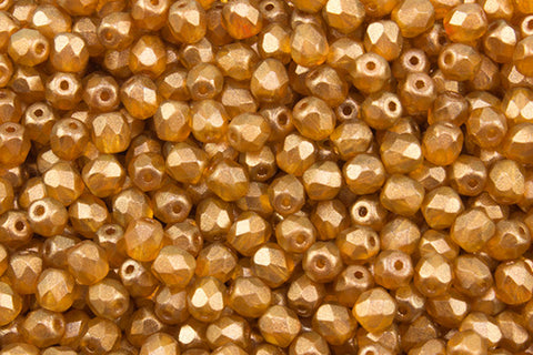 4mm Golden Touch Fire Polish Sandlewood Approx.80 beads - Beads Gone Wild