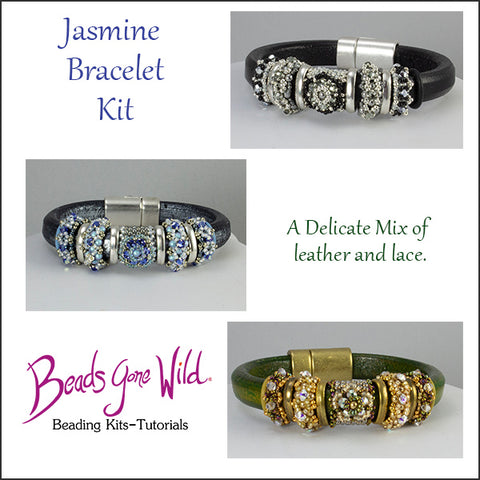 Jasmine Leather and Beaded Bracelet Kit