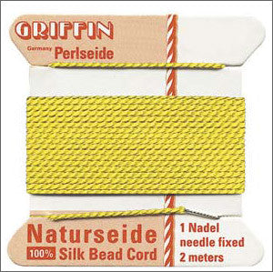 Griffin Silk Cord with needle Size 10 Yellow - Beads Gone Wild