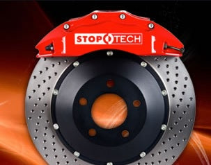 Stoptech Drilled Rotors and Street Performance Pads for Porsche 14-16 S or GTS Cayman