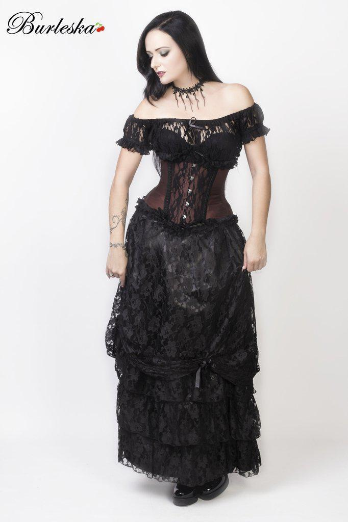 Alexandra Long Victorian Skirt In Black Satin With Black Lace Overlay-Burleska-Dark Fashion Clothing