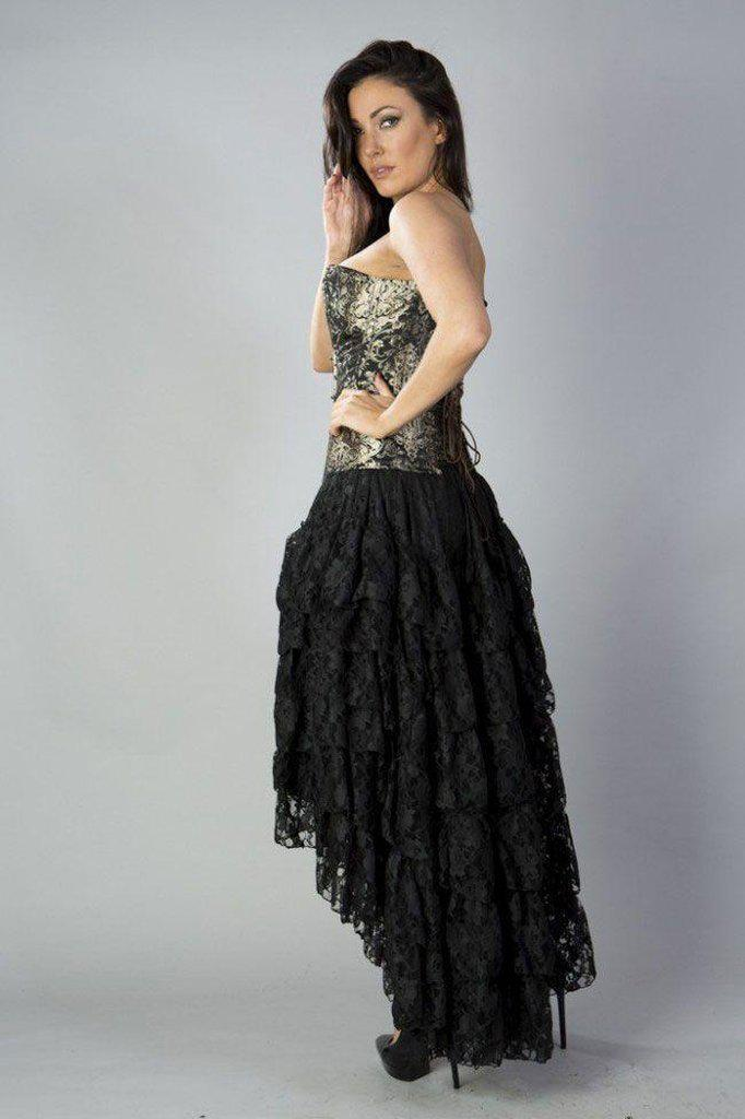 Amelia Long Burlesque Skirt In Lace-Burleska-Dark Fashion Clothing