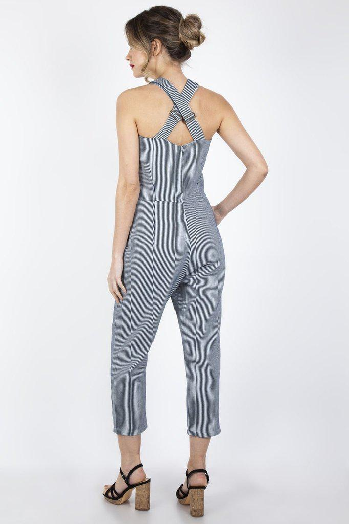 Anthea Fitted Stripe Overalls-Voodoo Vixen-Dark Fashion Clothing