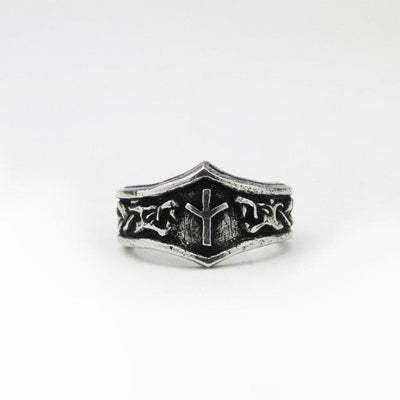 Asgard Algiz Letter X or Z Rune Ring - Adjustable-Asgard-Dark Fashion Clothing